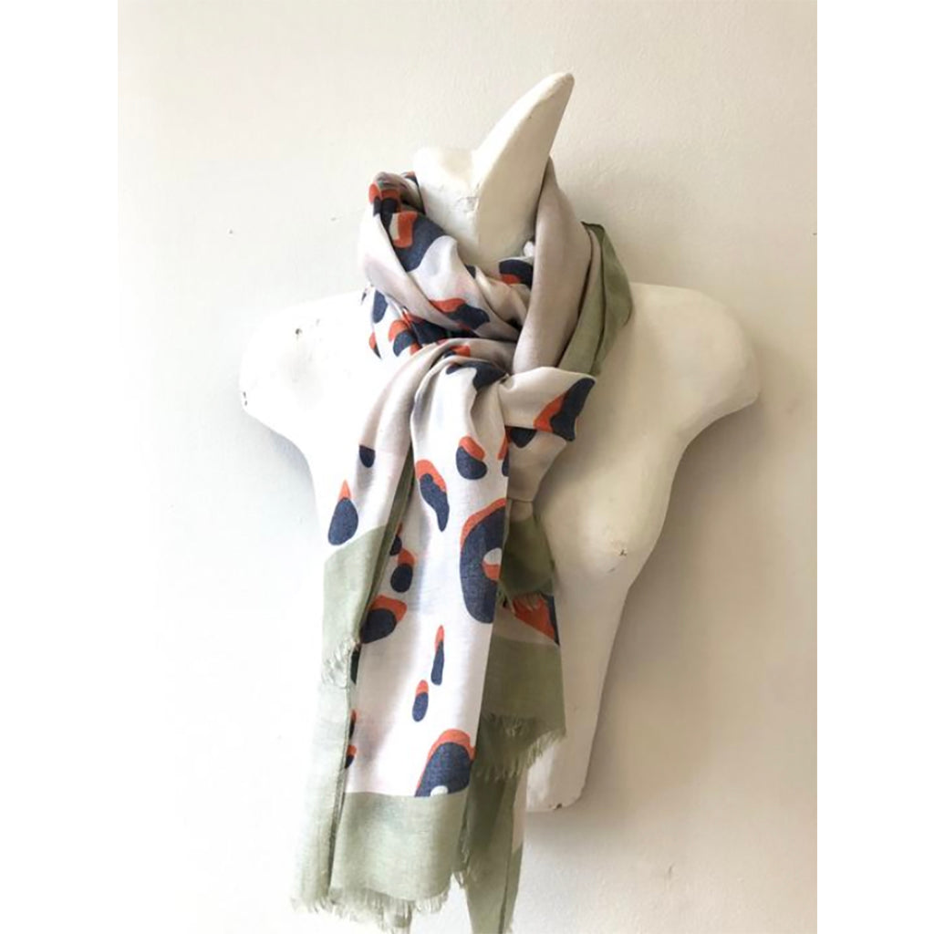 Animal Print Scarf Cashmere Blend with Mint Border