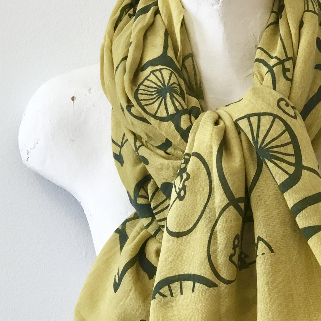 100% Cotton Chartreuse Bicycle Scarf