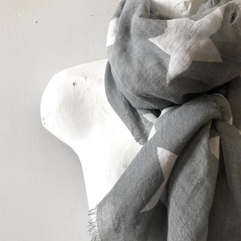 100% Cotton Grey with White Stars Scarf