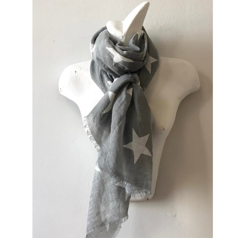 Grey fashion scarf with white stars