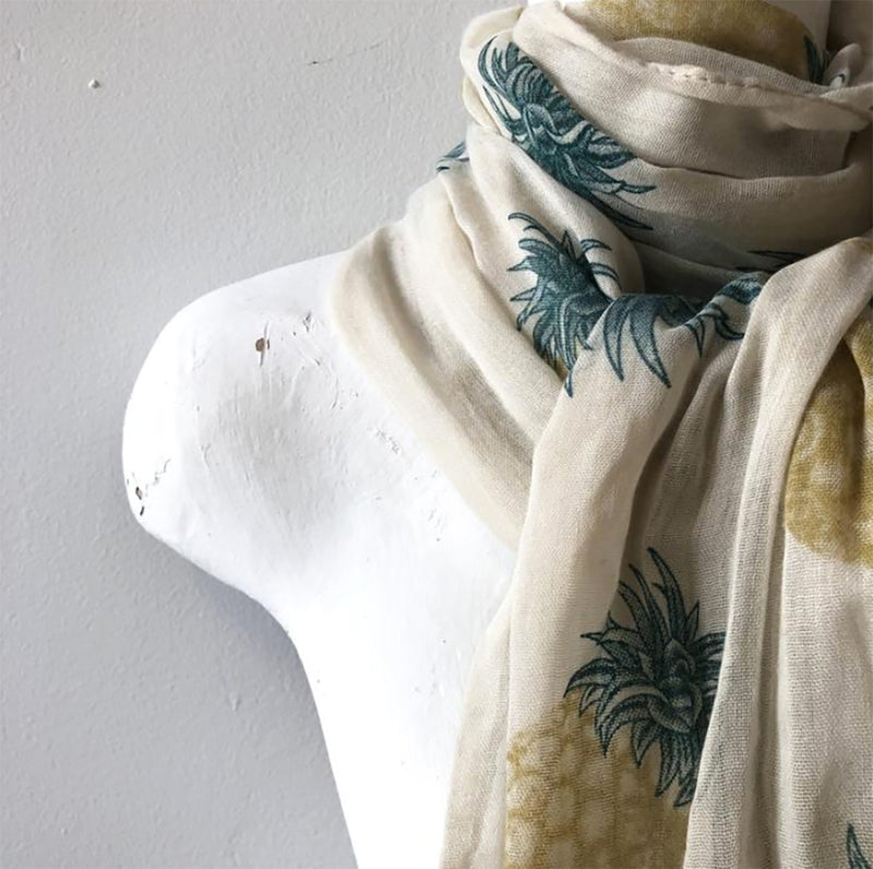 ivory fashion scarf with pineapple print