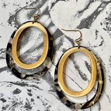 Black Marble Resin and Matte Gold Oval Drop Earrings