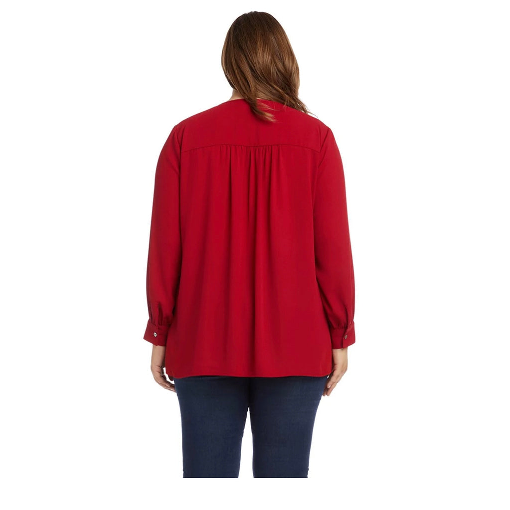 Red layered long sleeved plus size blouse