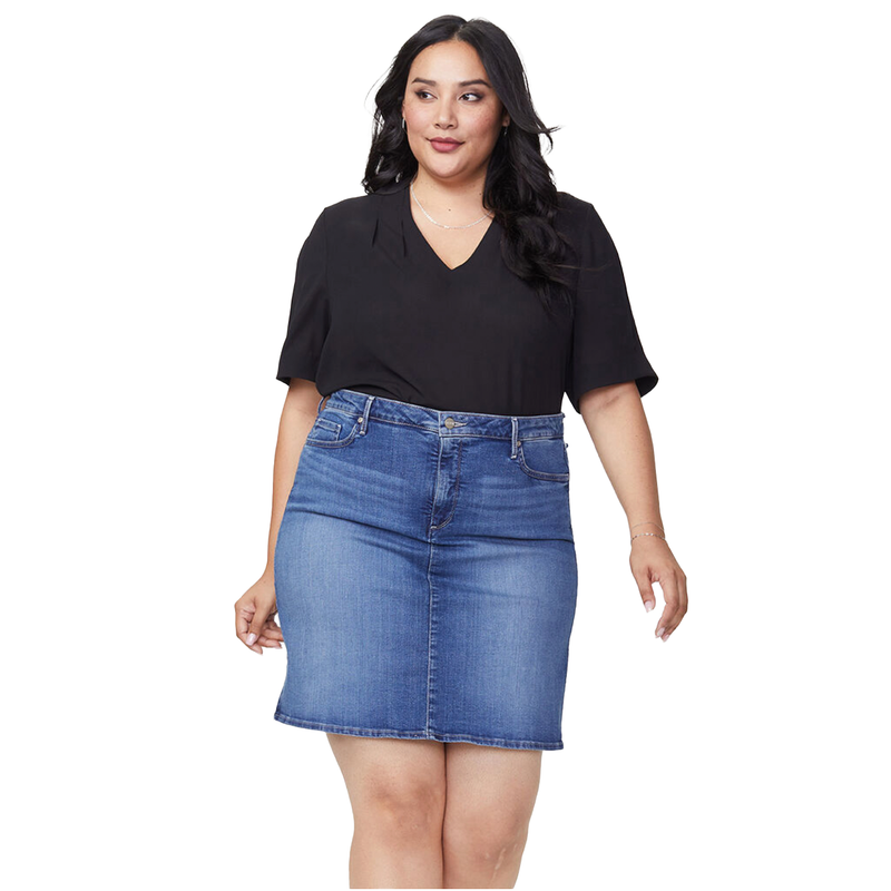 Five Pocket Denim Skirt by NYDJ - Plus Sizing