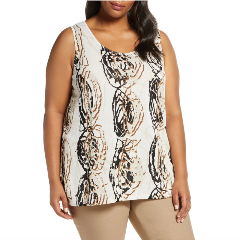 White knit plus size tank with black and taupe design