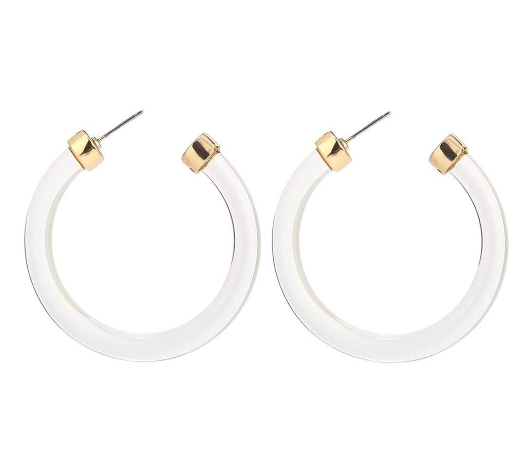 Clear lucite hoop earrings with gold accents