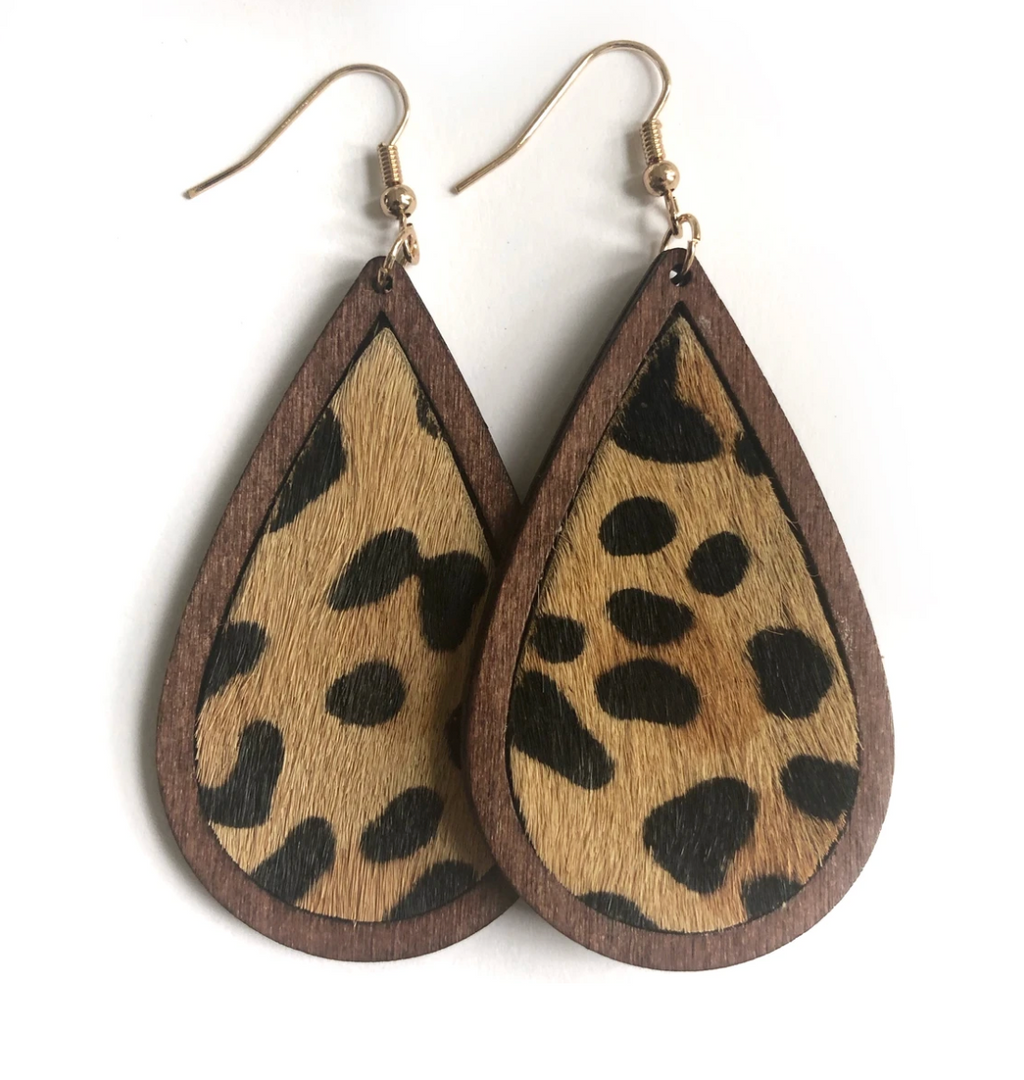 Leather and Wood Leopard Teardrop Earrings