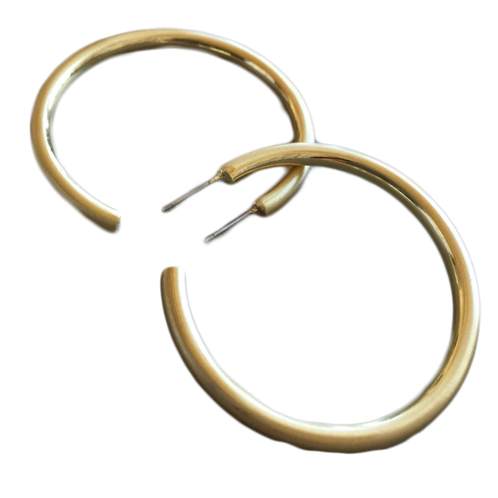 gold matte hoop earrings