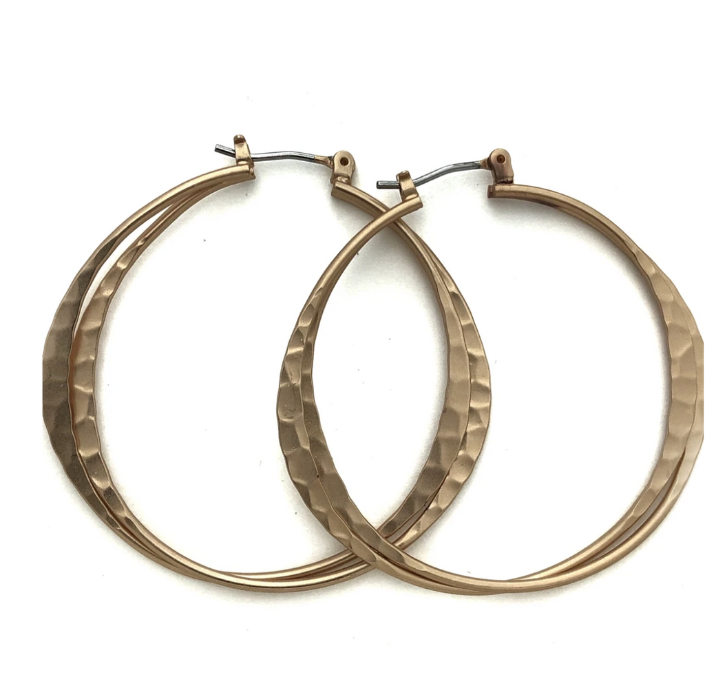 Hammered Metal double Hoop Earrings - Gold or Silver