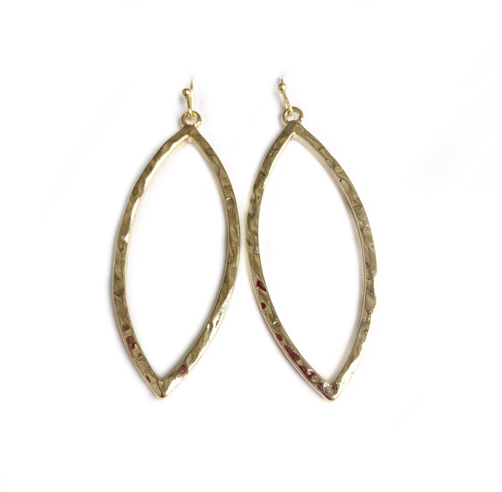 Hammered gold 2-in drop Marquise earrings