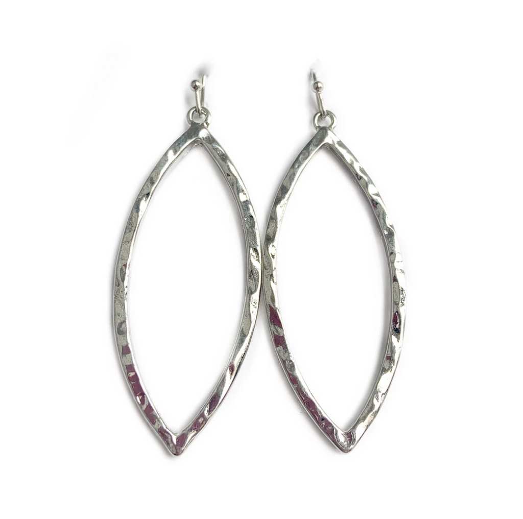 Hammered silver 2-in drop Marquise earrings