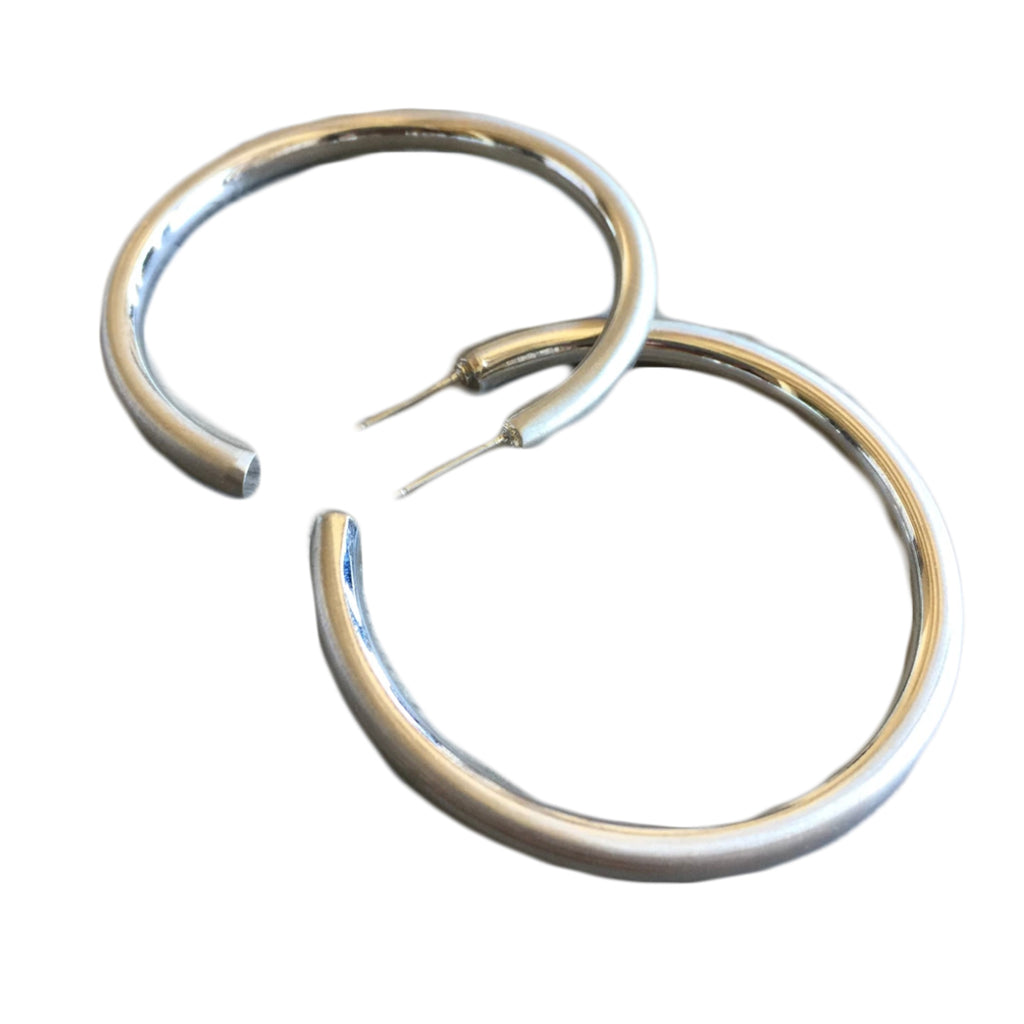 silver matte hoop earrings