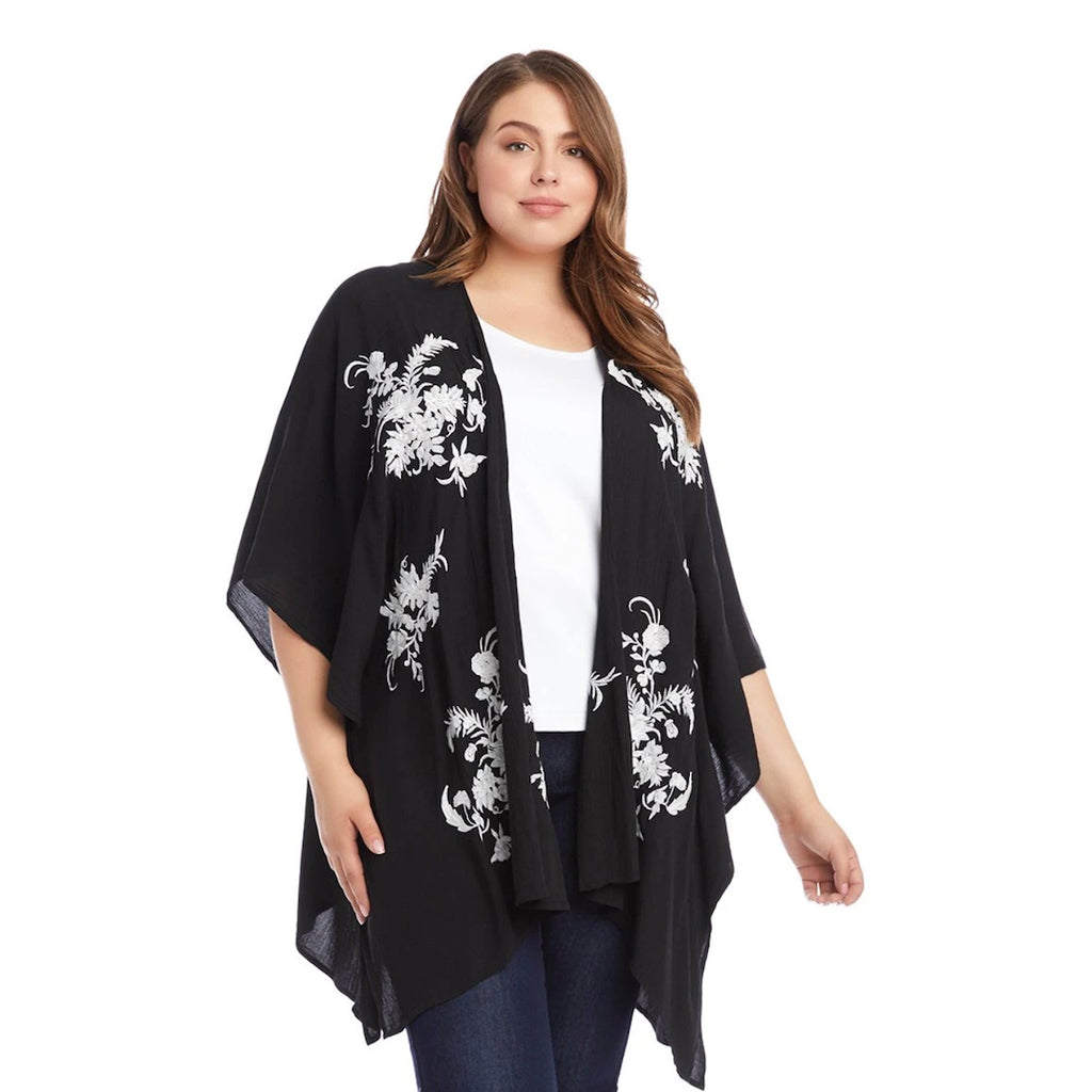 Embroidered Plus Size Kimono Top