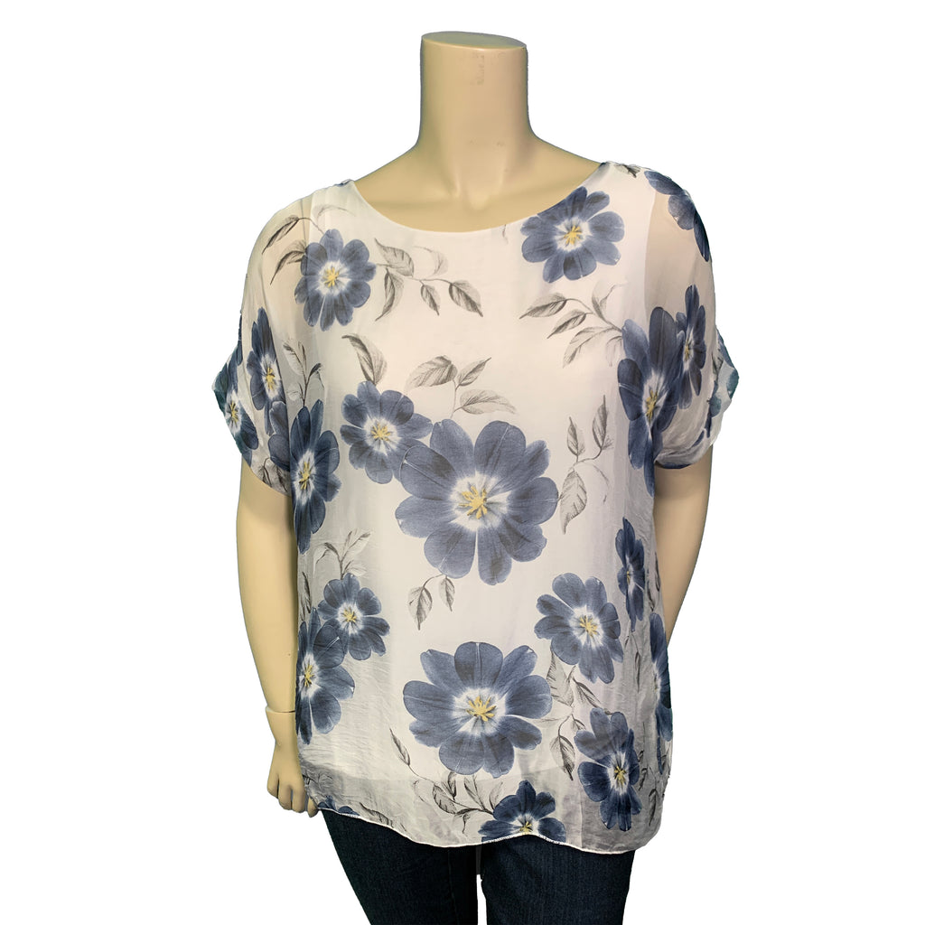 white and blue floral silk top