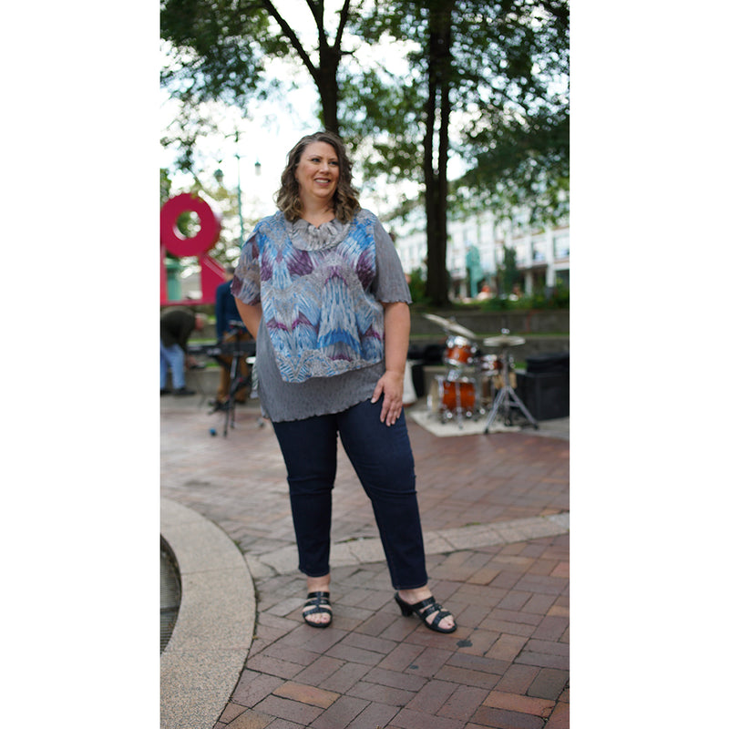 grey layered plus size top