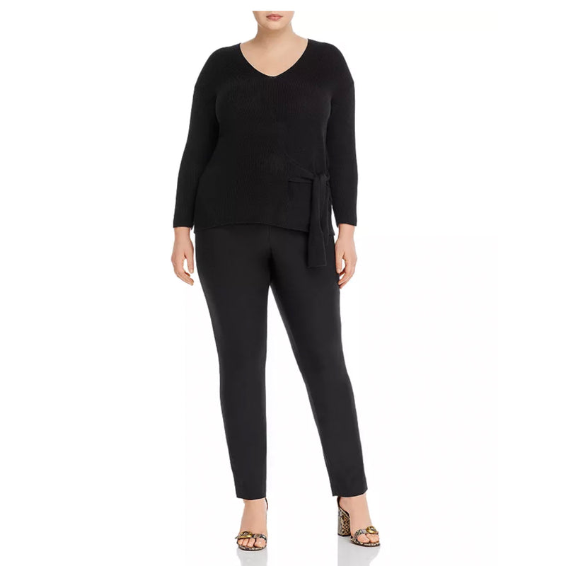 Black plus sweater with tie detail at hip