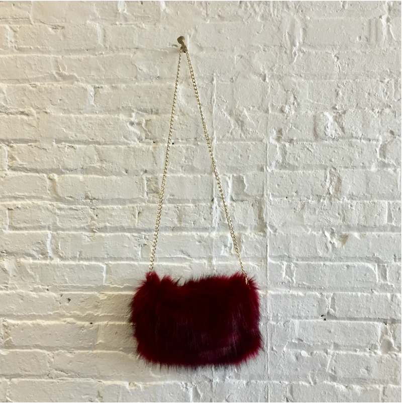 Faux Fur Crossbody Purse with Gold Chain Strap - Burgundy or Black