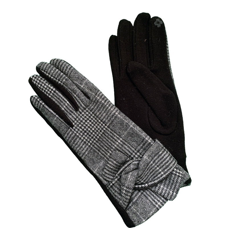 black and white gloves