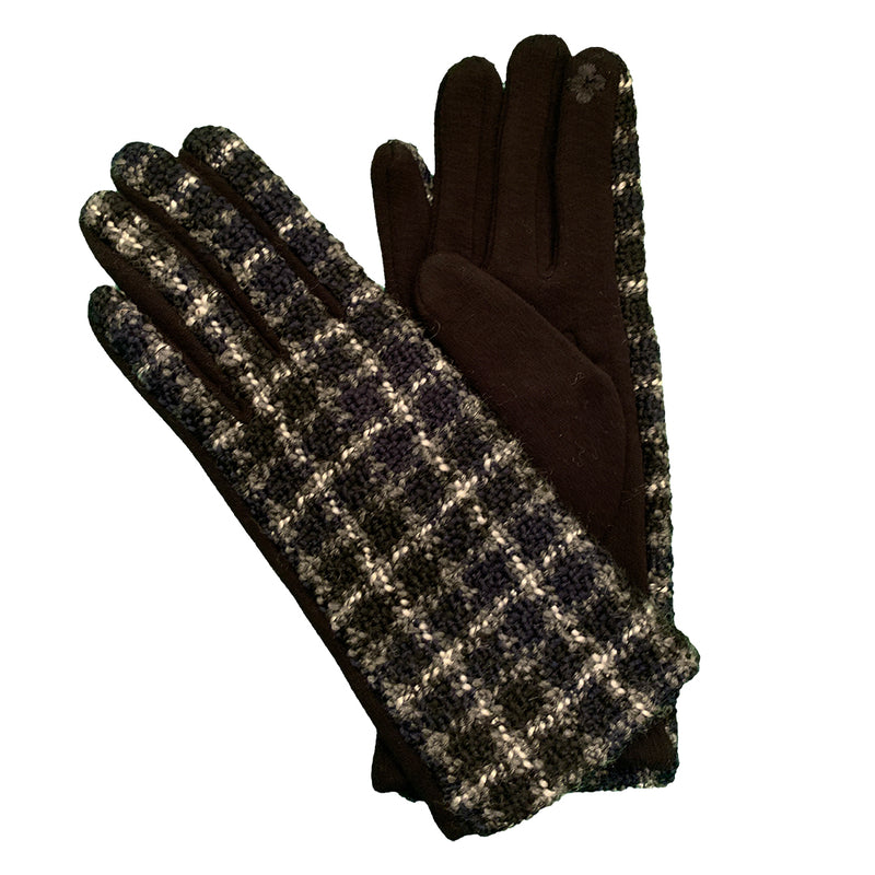 black and white checked gloves