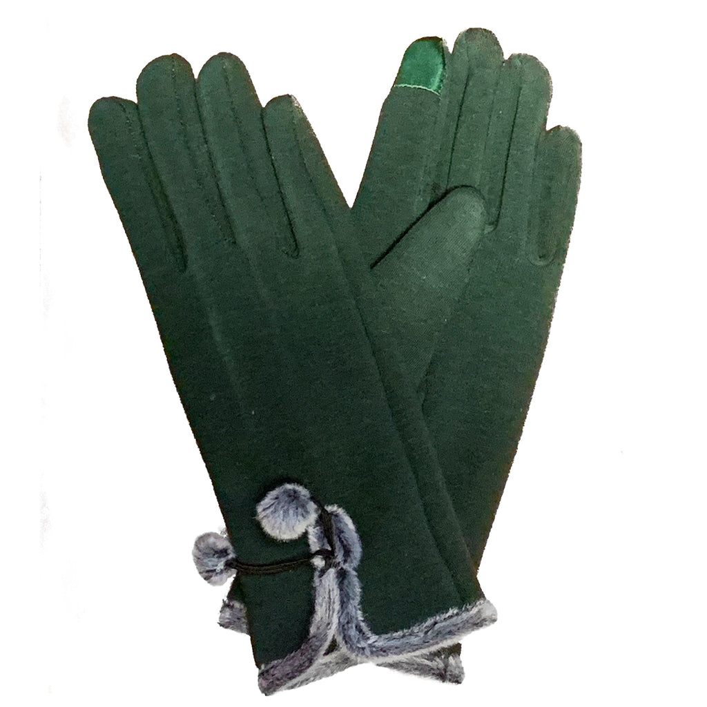 green and grey gloves