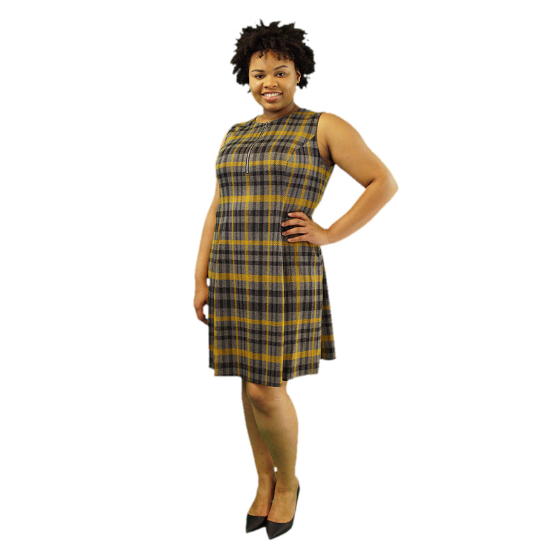 Grey, yellow, and black plaid plus size shift dress