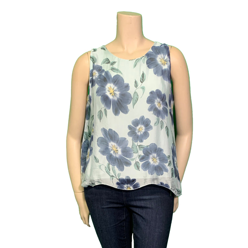 Green and blue silk floral taPink and blue silk Plus size floral tank top shellnk top shell