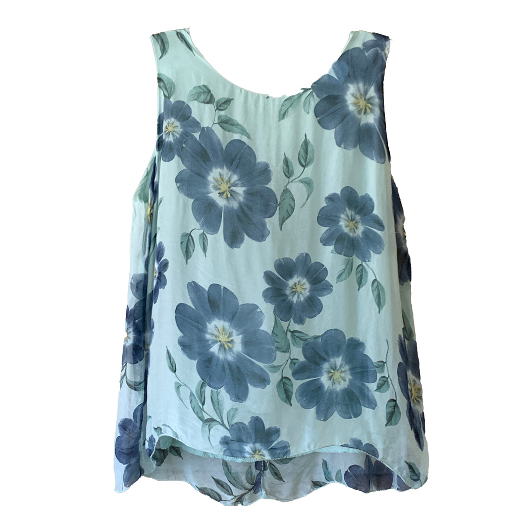 Green and blue silk Plus size floral tank top shell