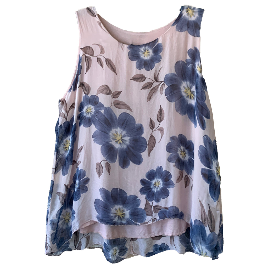 Pink and blue silk Plus size floral tank top shell