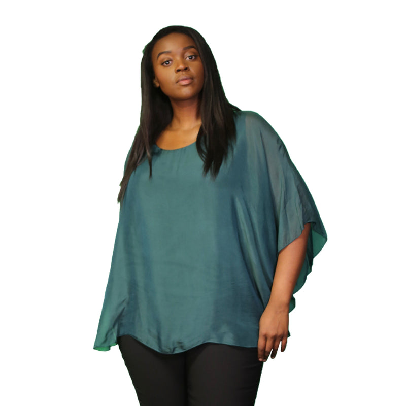 Green silk top with sheer overlay and solid tank underneath