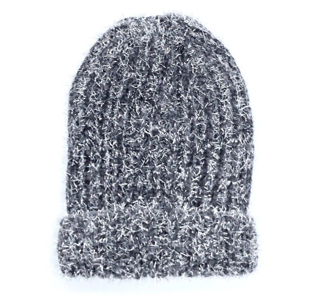 Grey beanie tinsel hat
