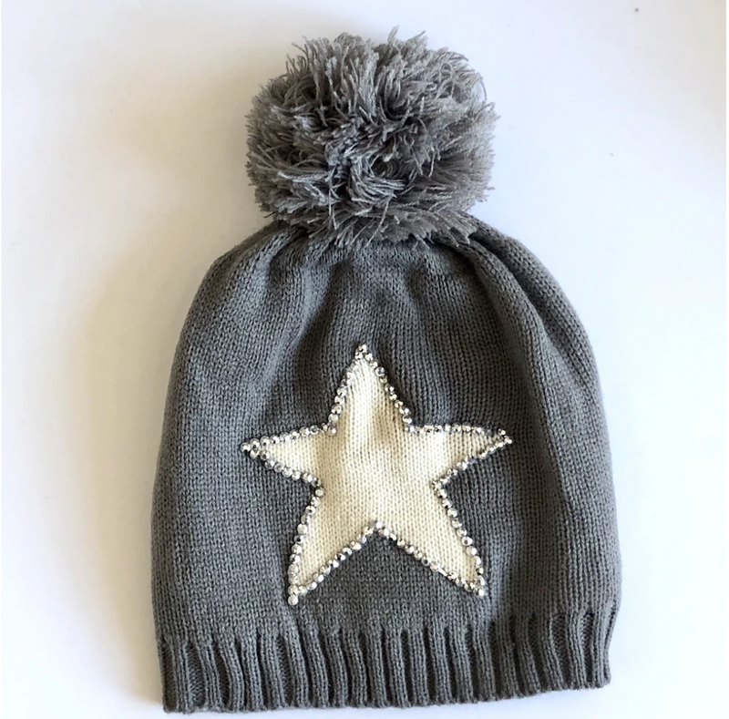 Grey winter hat with pom pom and white star with sequin edging
