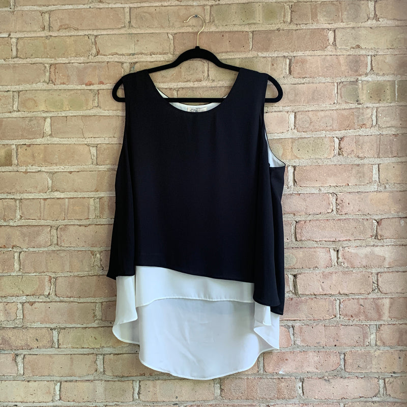Black and white layered tank