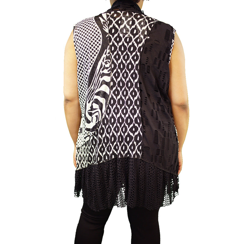 Black and white duster vest with mesh edging