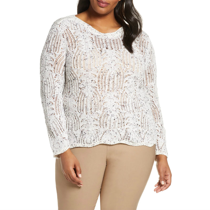 White open weave plus size sweater