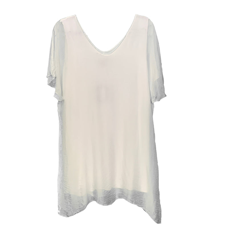 White silk tunic top