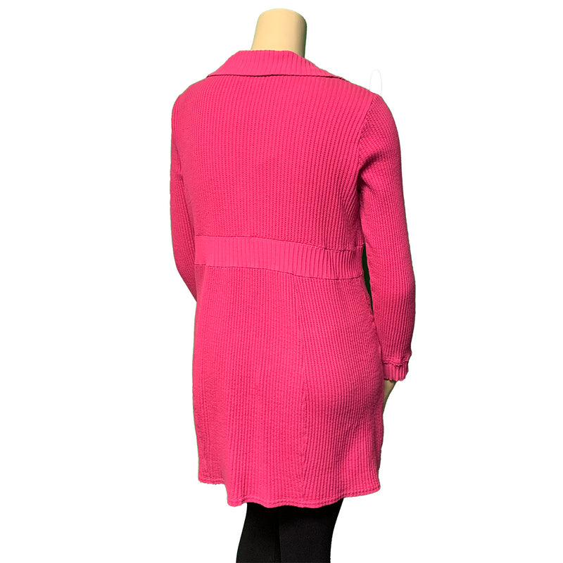 Bright pink plus size designer cardigan