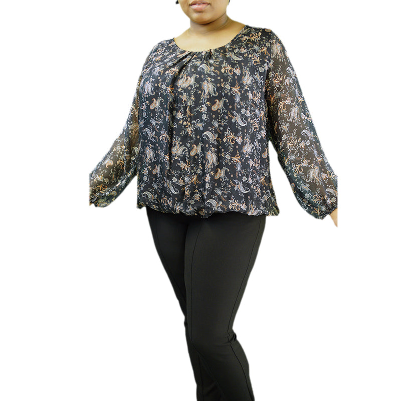 Luxurious silk blend black top with sheer sleeves