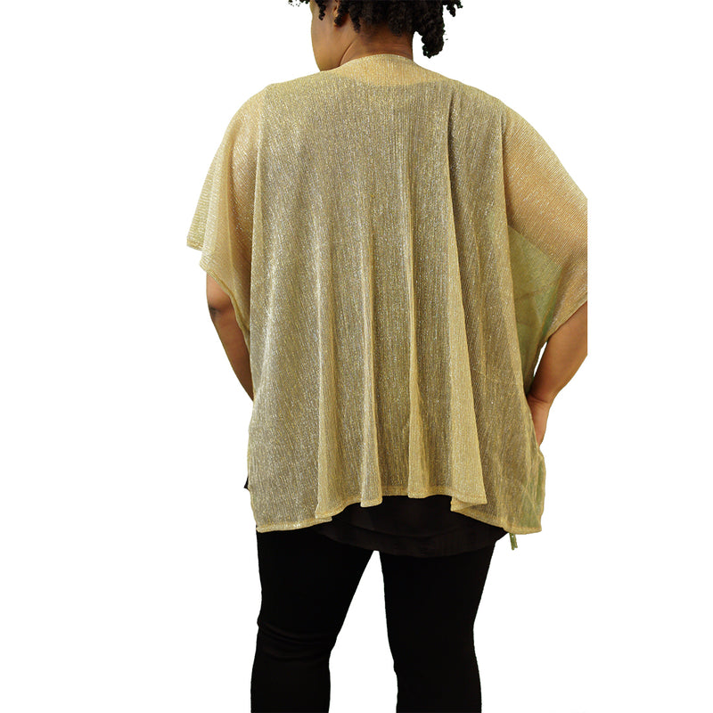Sheer gold kimono-style shawl with tassels