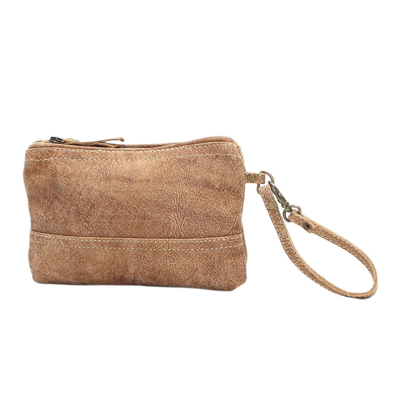 Tan leather wristlet