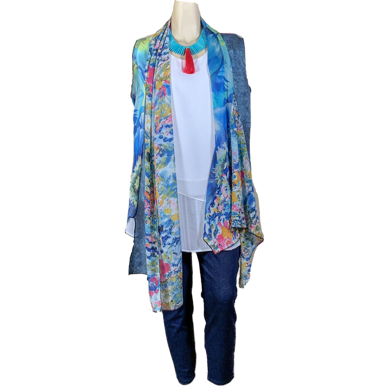 blue floral sheer duster