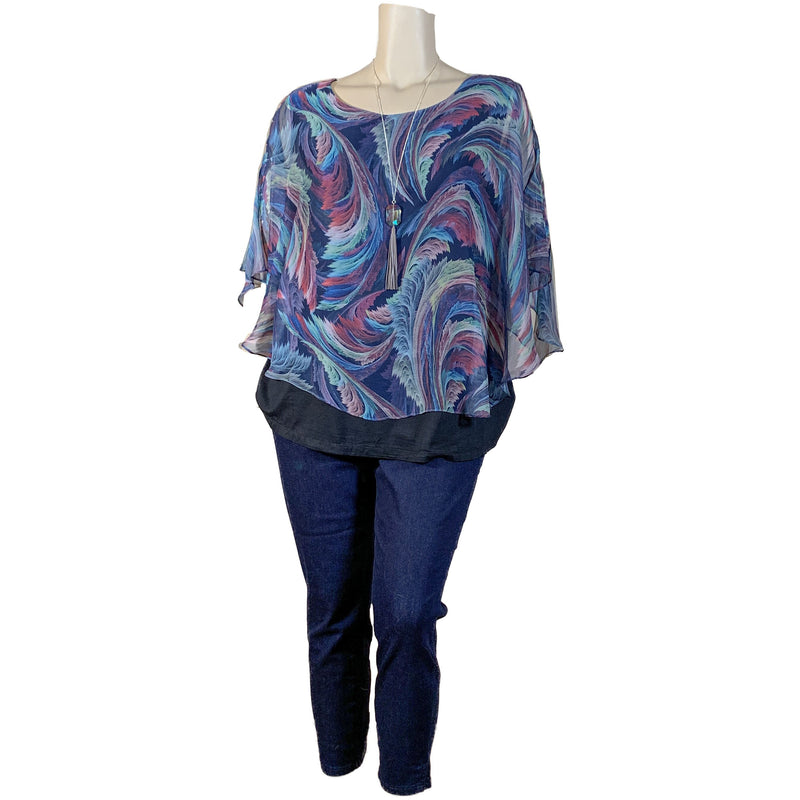 Plus Size Designer Top - black with colorful pattern
