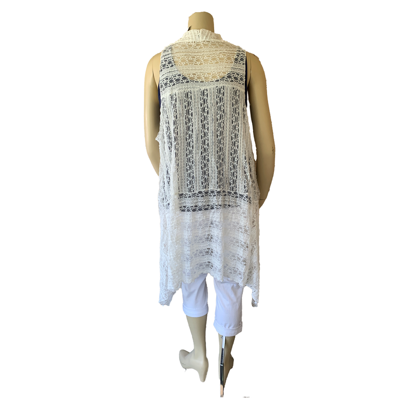 White lace duster coverup in plus size