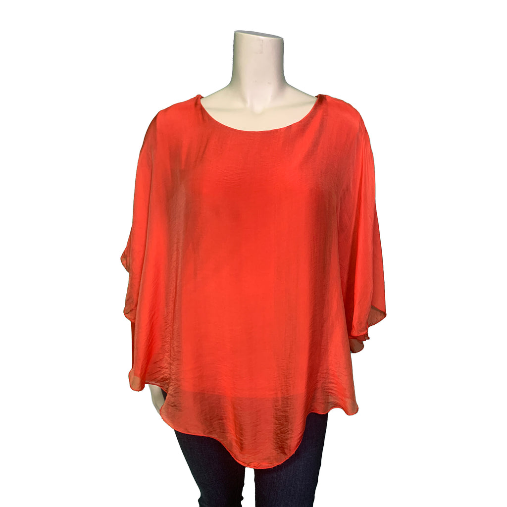 Long sleeved plus size red silk blouse