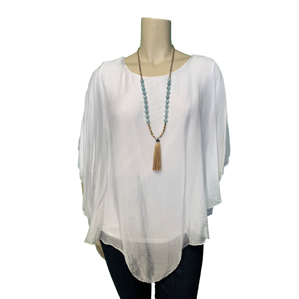 Long sleeved plus size white silk blouse