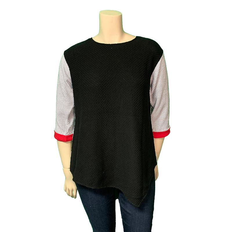 White, black and red plus size designer spring sweater