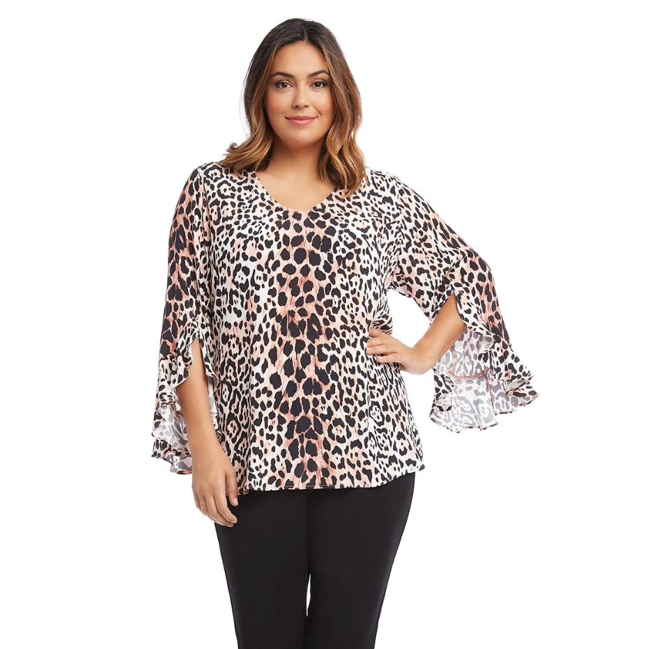 Ruffle sleeve leopard print plus size designer top with pink undertones