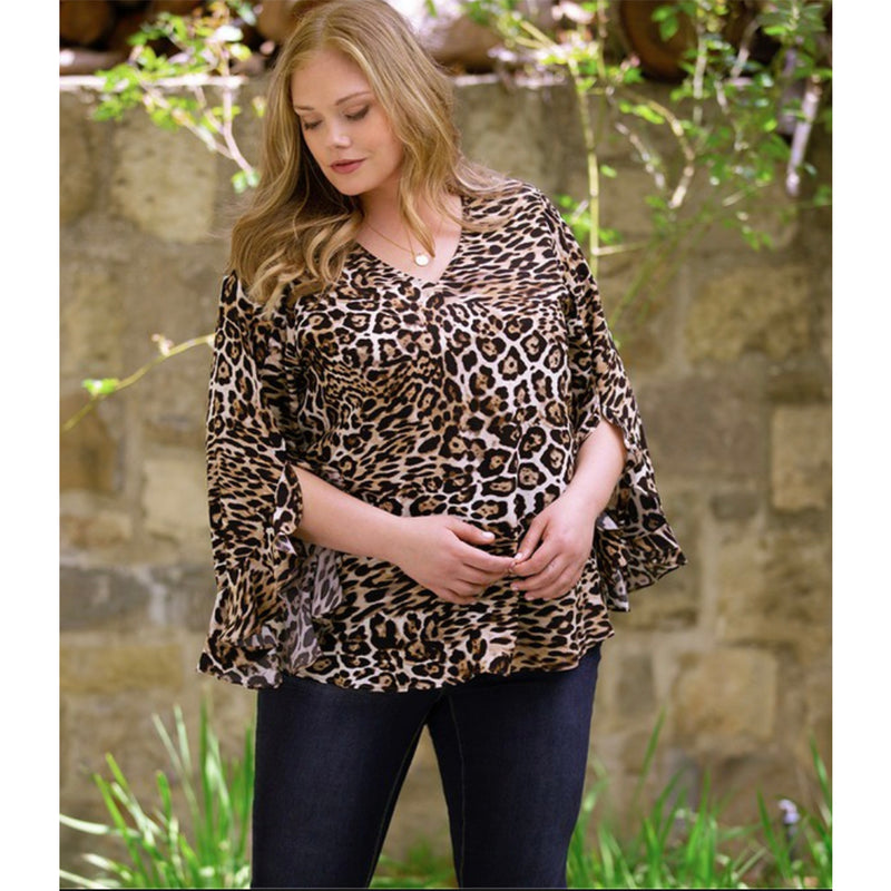 Leopard print plus size blouse with ruffled sleeves