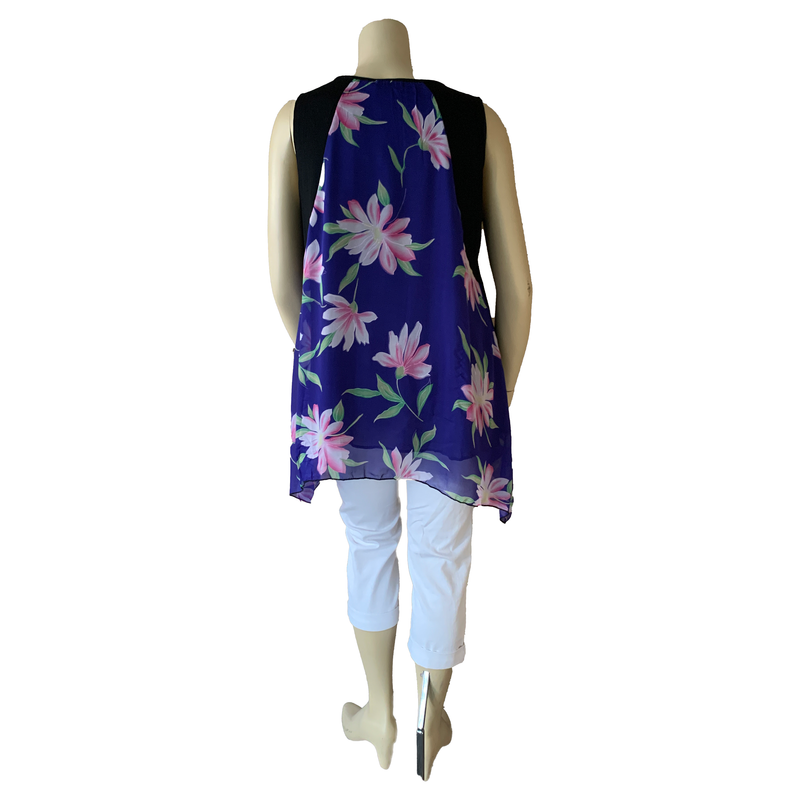 Blue and black sleeveless blouse with pink lily pattern