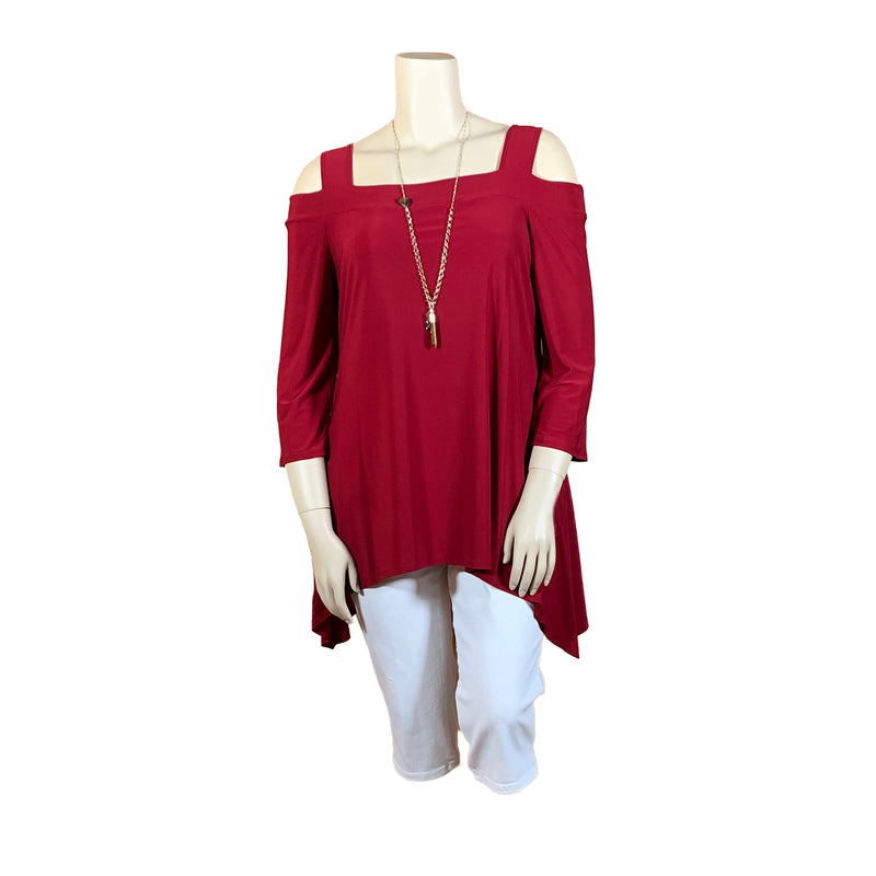 red plus size tunic top