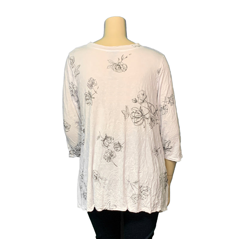White crinkle plus size top with green floral print